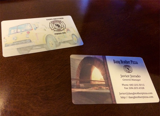 Dang brother pizza business card